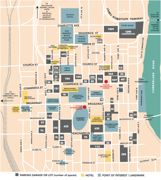 Nashville, TN Tourist Map | Mappery | Pinterest | Tourist map and ...