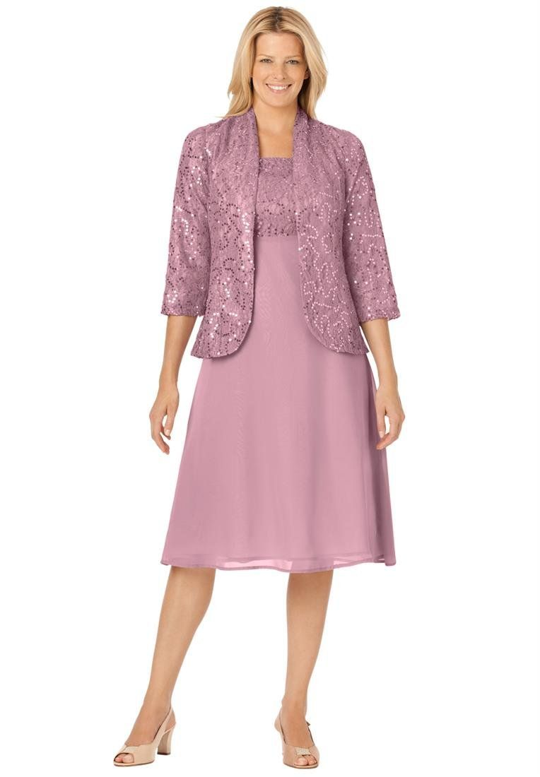 Plus Size Jacket/Dress Set With Sequined Lace (Dusty Pink,28 W ...
