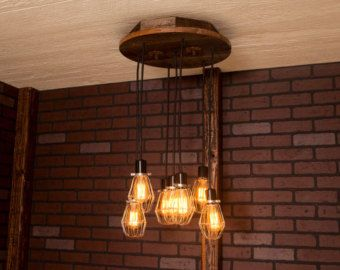 Kronleuchter Industrial ~ Industrial lighting industrial chandelier with reclaimed wood and