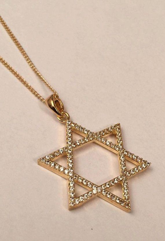 Star Of David Necklace Studded Goldfield Star Of David Etsy In 2021 Jewish Jewelry Jewelry Star Of David