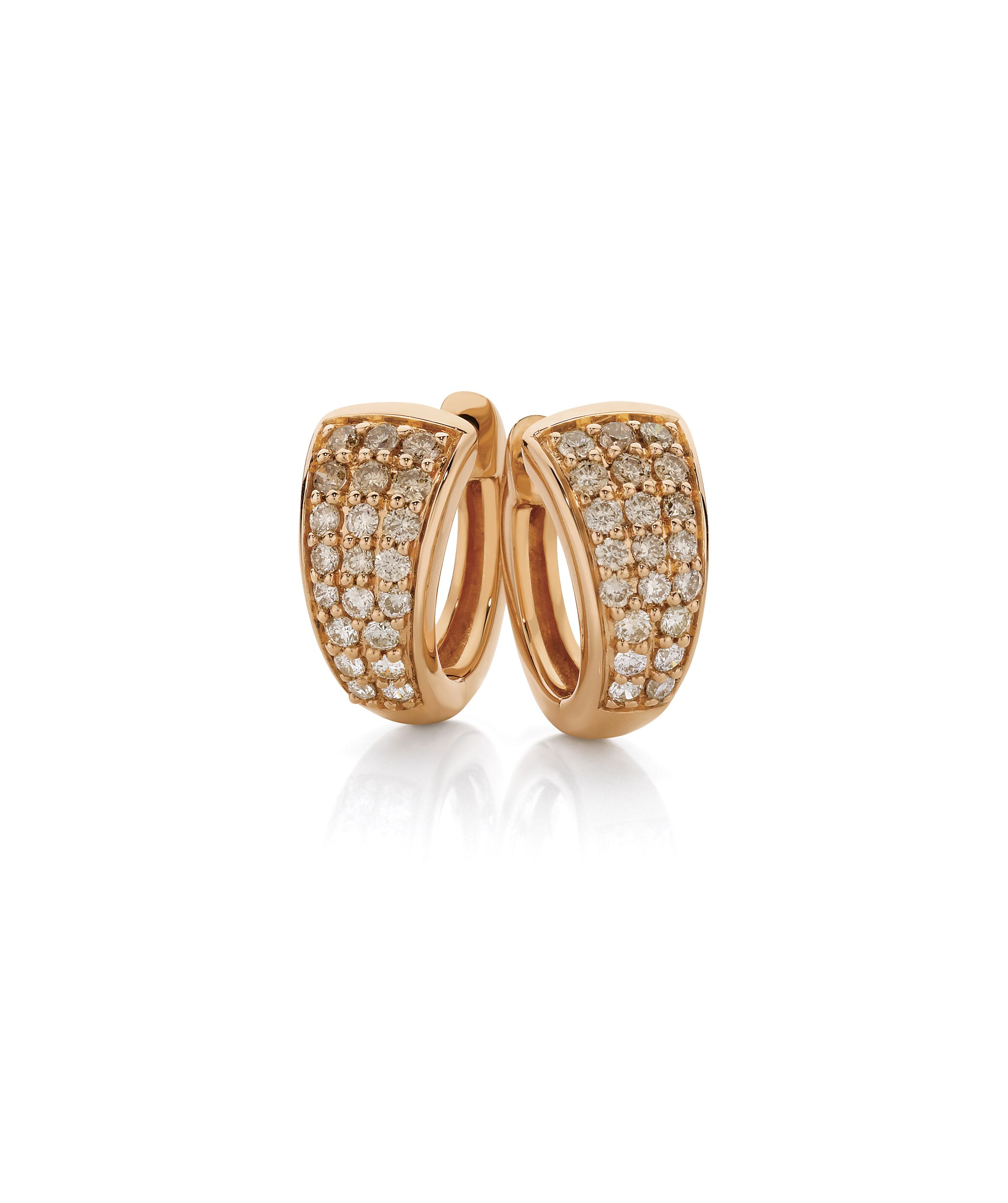 Gold · Glow with these stunning 9ct Rose Gold Huggie Earrings by Dreamtime,  0.50ct Graduated Diamond
