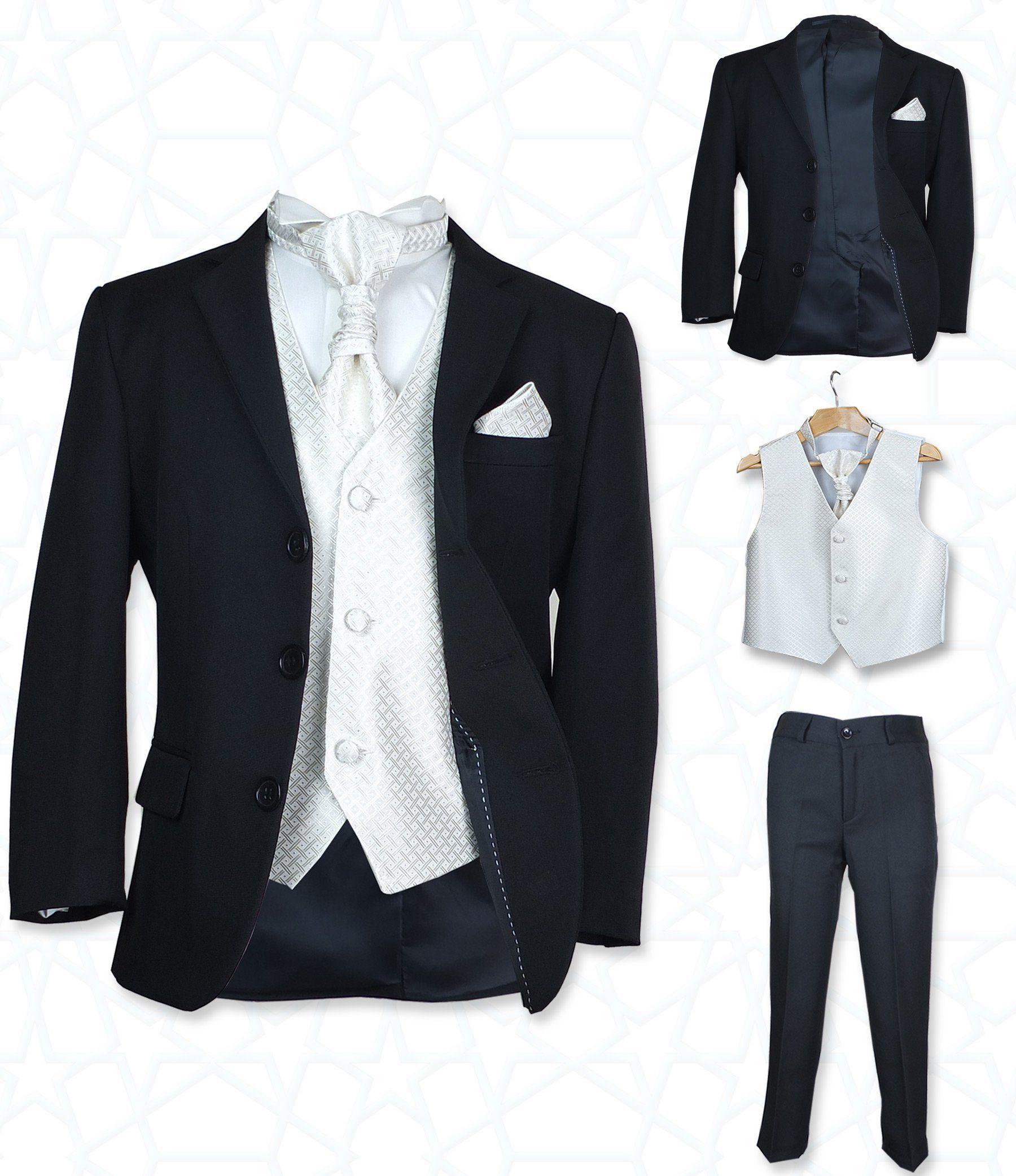 Sirri Jungen 5 Teile Formell Hochzeit Anzuge Elfenbein Krawatte Abiball Seite Jungen Anzug Schwarz Creme 116 Amazon De Be Anzug Anzug Jungen Bekleidung