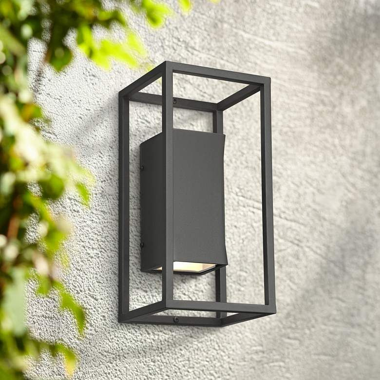 Kell 14 High Textured Black Box Led Up And Down Wall Light 66a00 Lamps Plus Exterior Light Fixtures Outdoor Light Fixtures Modern Outdoor Wall Lighting