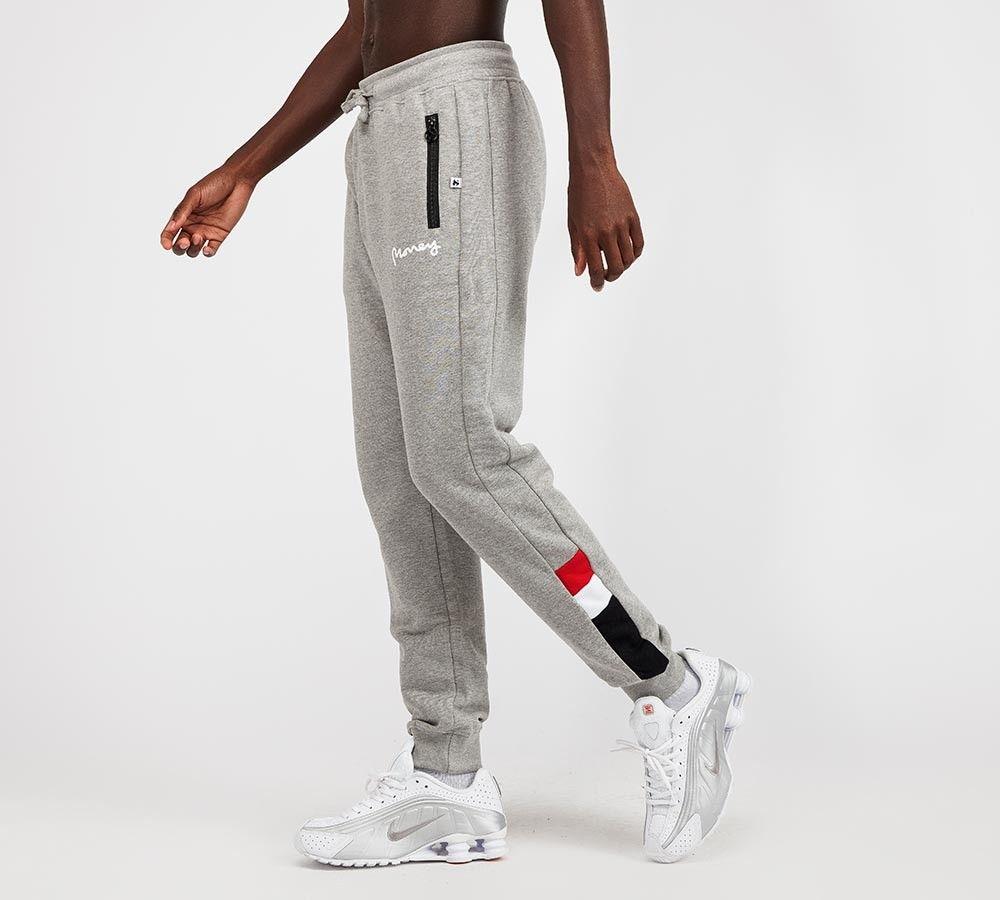Money clothing sig chevron fleece pant grey black