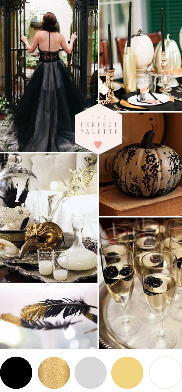 a spooky soir e black and gold party ideas couleur d co dor e pinterest soir e. Black Bedroom Furniture Sets. Home Design Ideas