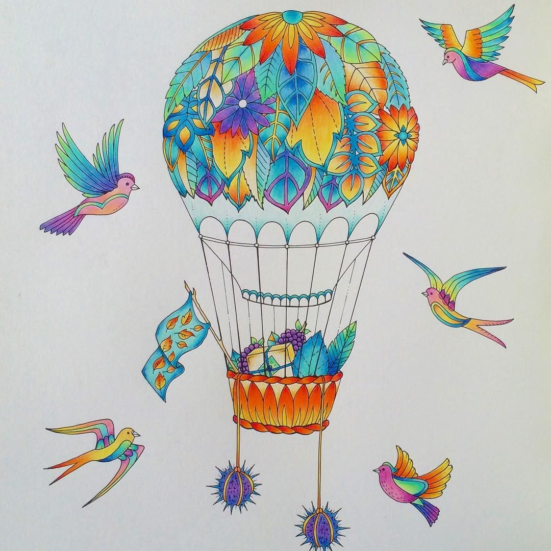 Finished My Hot Air Balloon Enchantedforest Adultcoloringbook Johannabasford Hotairballoon