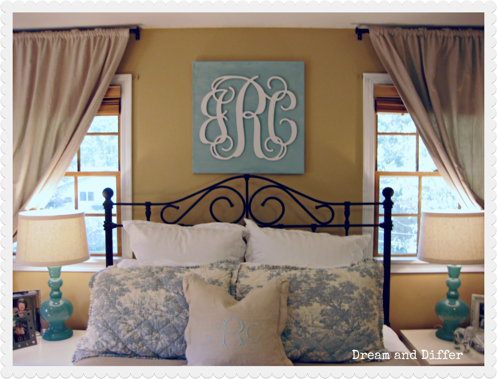 Window above bed ideas  monogram bedroom  google search this but with out the curly letters