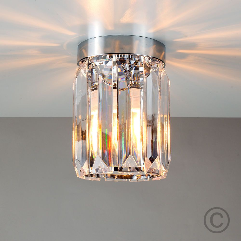 lounge ceiling lighting. Contemporary Chrome \u0026 Clear Acrylic Flush Ceiling Light Fitting Lounge Lighting 2