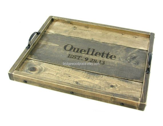 reserved for deepa: engraved ottoman tray, personalized wood