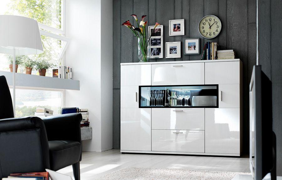 Highboard Corano Hochkommode Hochglanz weiß modern T14 XXONE MÖBEL - hülsta möbel wohnzimmer