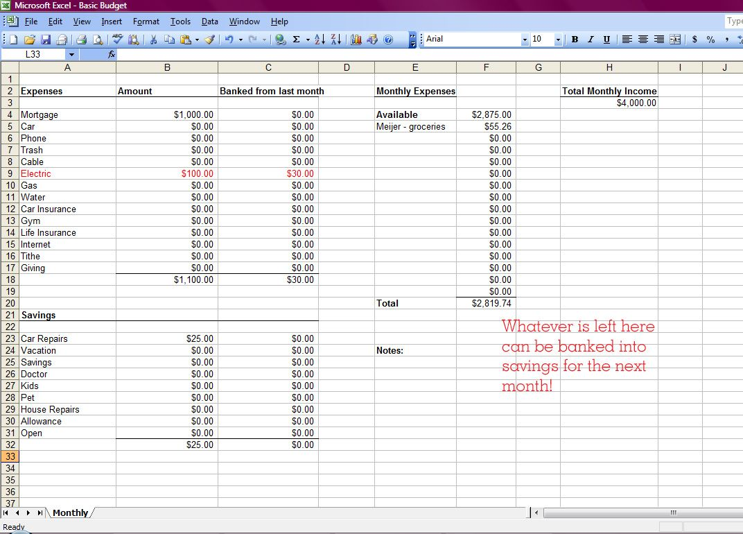 how to make a monthly budget on excel