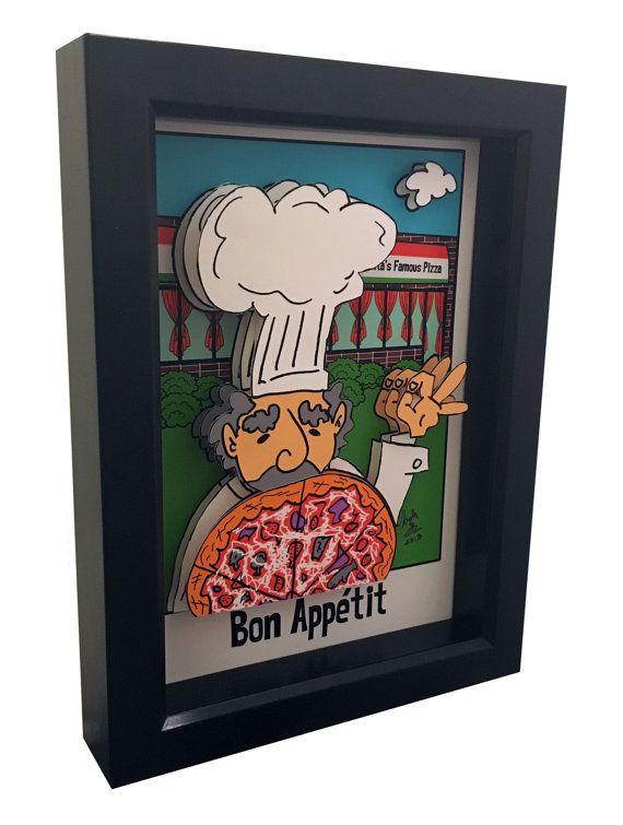 Kitchen Decor Pizza Chef 3d Pop Art Italian Decor Restaurant Artwork Italian Kitchen