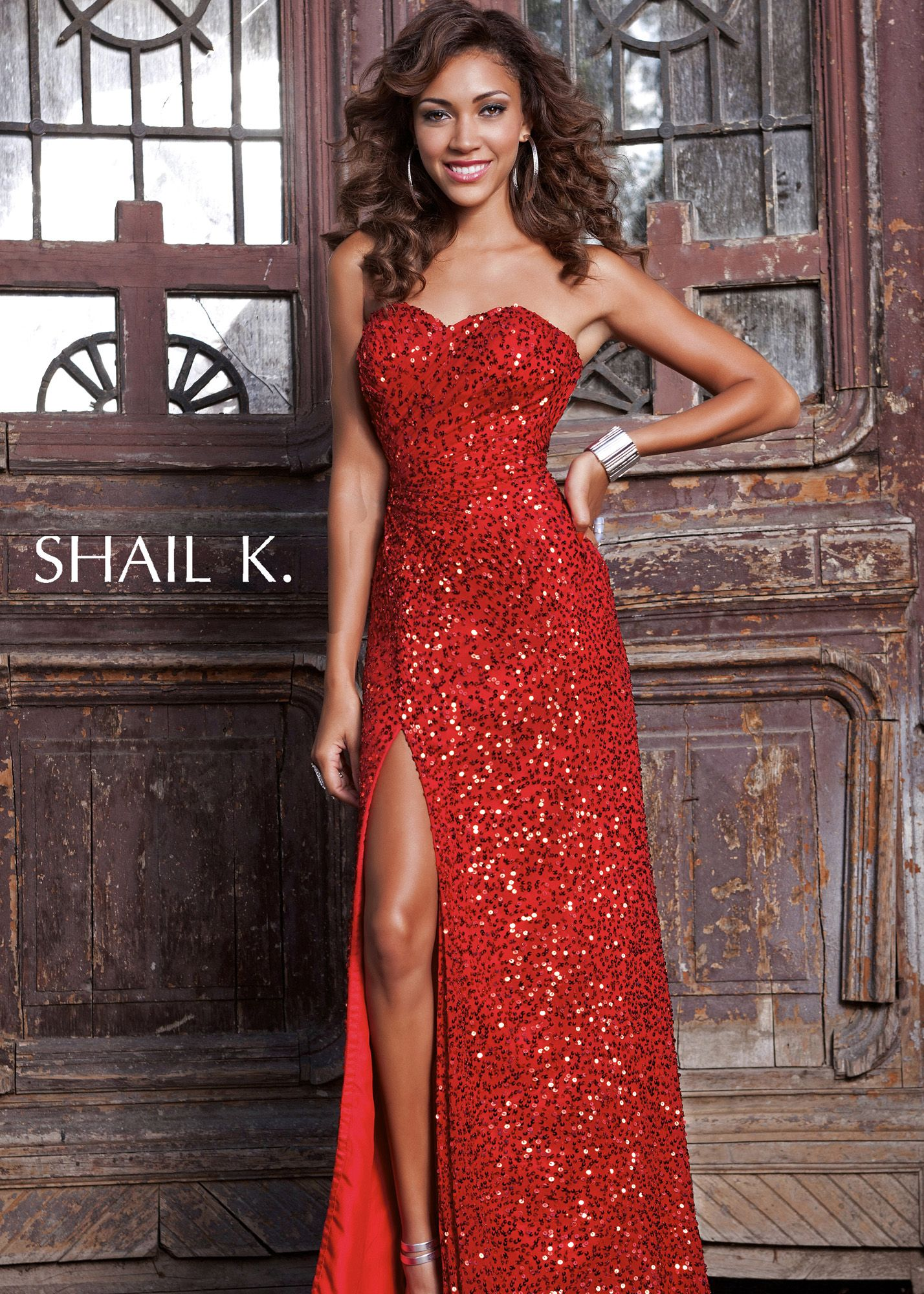 Shail k red sequin strapless prom dresses online southern