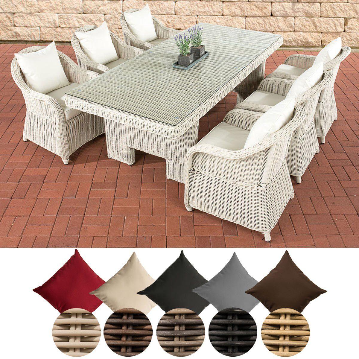 Elegante Polyrattan Sitzgruppe Candela Garten Set Cremeweiss Polsterauflagen Sitzgruppe Sessel