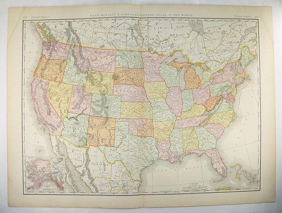 Antique United States Map 1896 Large Vintage Map United ...