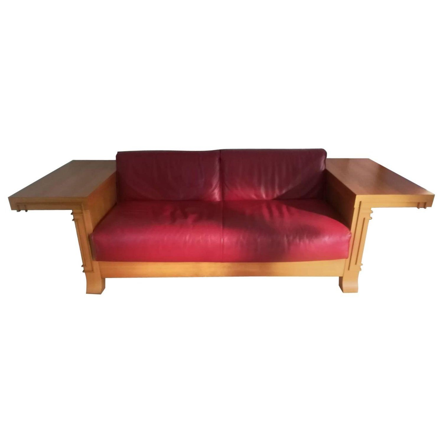 Art Deco Cassina Robie 3 Two Seat Leather Sofa By Frank