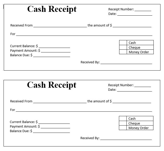 cash receipt templates free