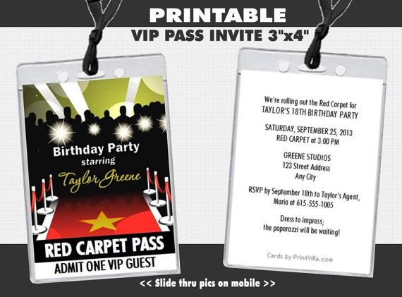 Red Carpet Paparazzi VIP Pass Birthday Party Invitations Printable