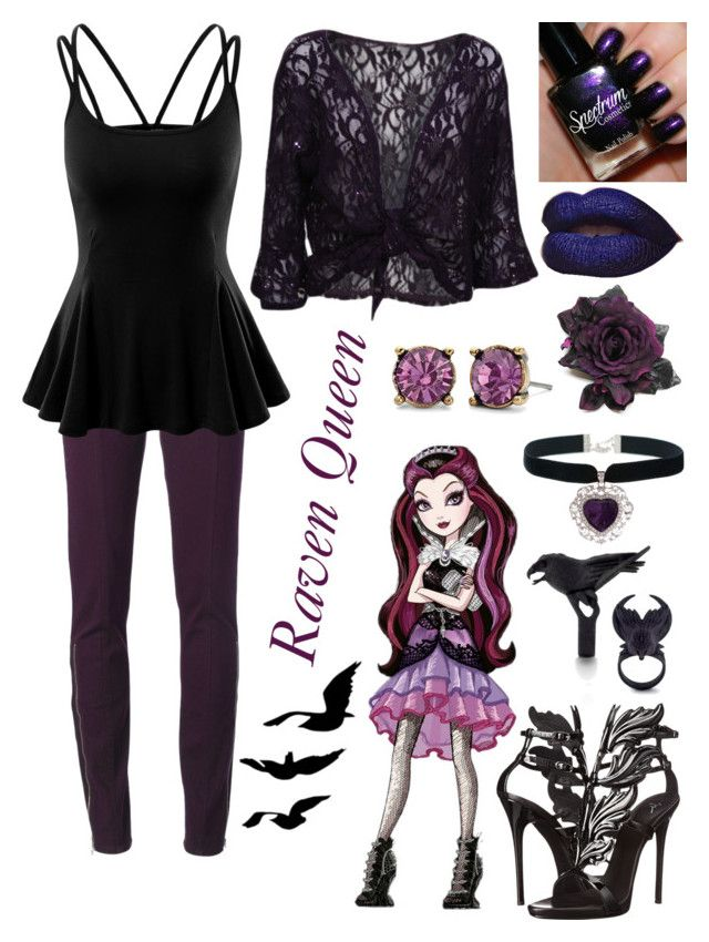 """""""Raven Queen Inspired"""" by winter-blaze-1 ❤ liked on Polyvore featuring Merida, Giuseppe Zanotti, UNCONDITIONAL, Doublju and WearAll"""