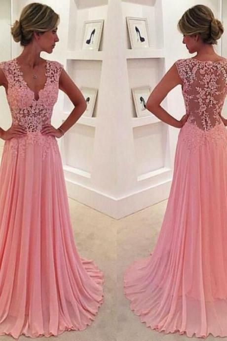 Brilliant Pink Chiffon Prom Dress,Sexy Short Sleeves V-Neck Evening ...