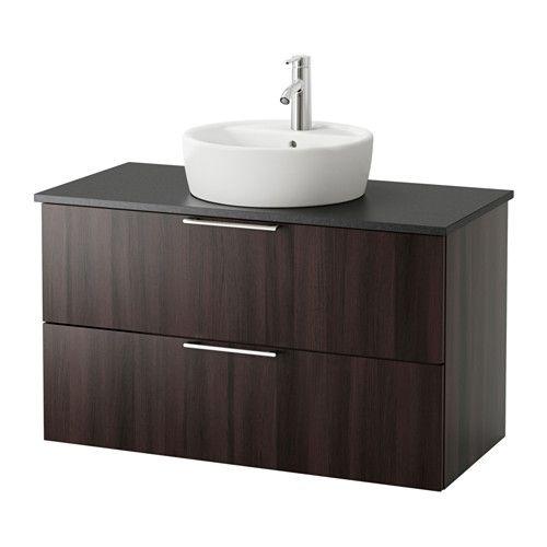 GODMORGON/ALDERN / TÖRNVIKEN Meuble lavabo av lavabo à poser 45 - salle de bain meuble noir