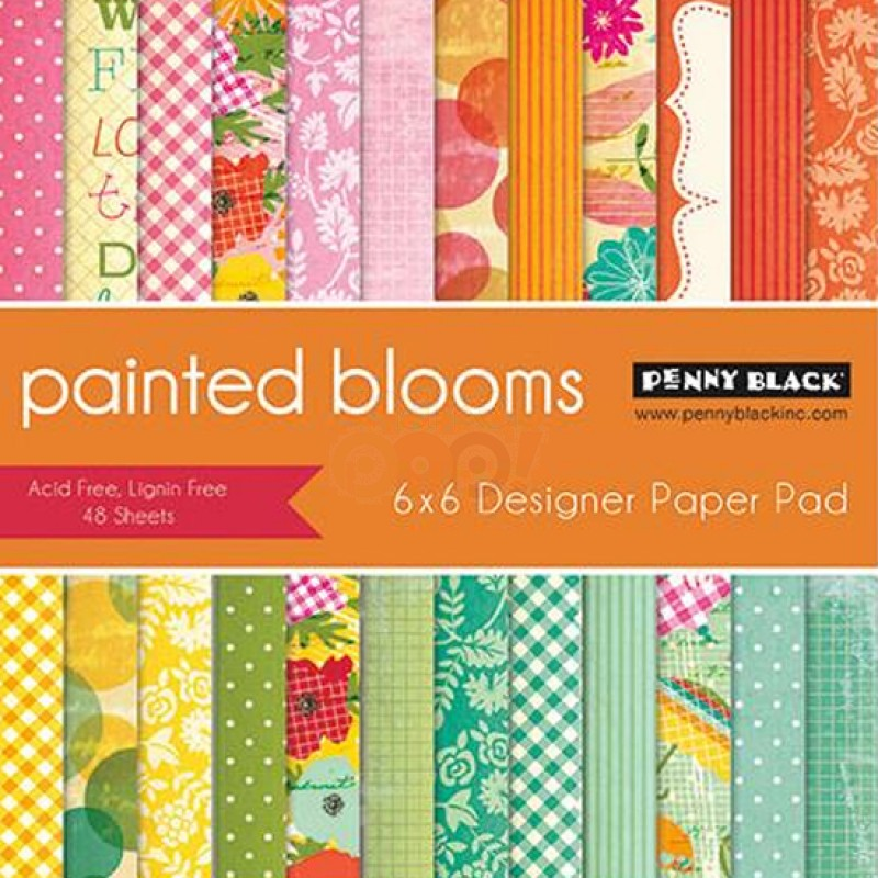 Penny Black Paper Pad - Painted Blooms 6 x 6 Penny Black