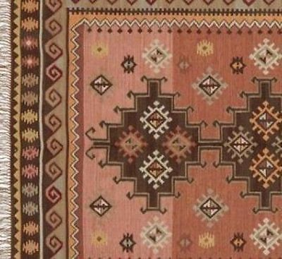 Pottery Barn Terra Cotta Kilim Wool Rug 8x10 Southwest New