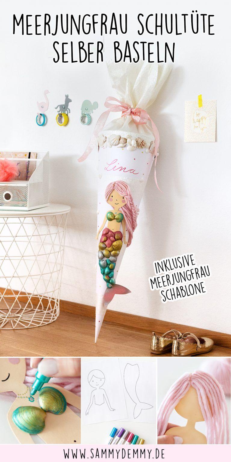 Meerjungfrau Schultüte basteln: DIY Einschulung mit bemalten Muscheln