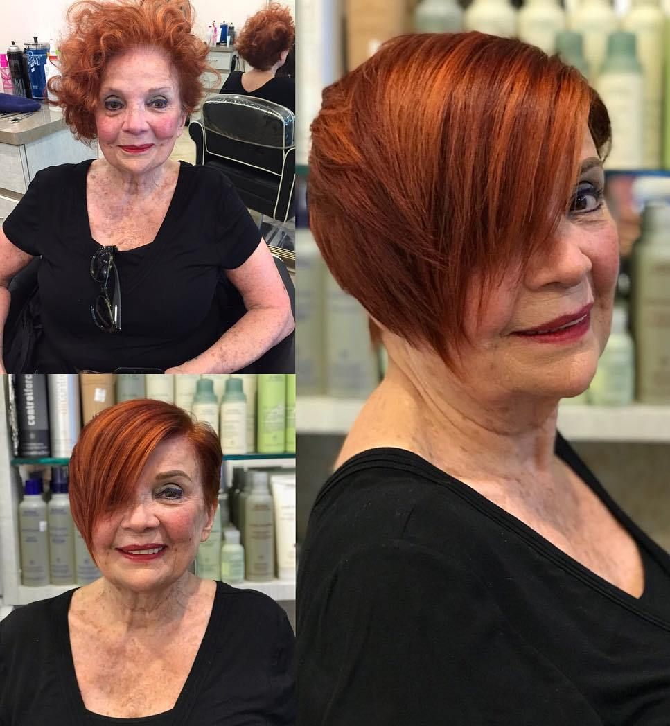 Side-Parted Copper Red Pixie Bob | Short hair styles, Short hairstyles over 50, Womens haircuts