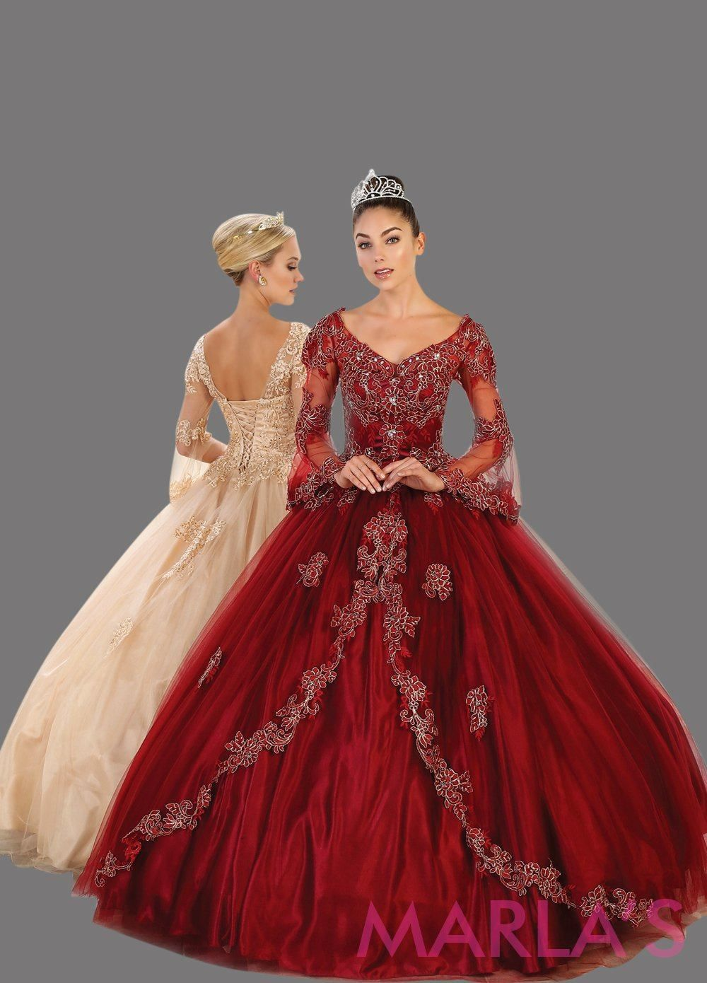 e5d55fc95f0 Long burgundy dark red ball gown with sheer long sleeves. This dark red  ballgown is perfect for Quinceanera