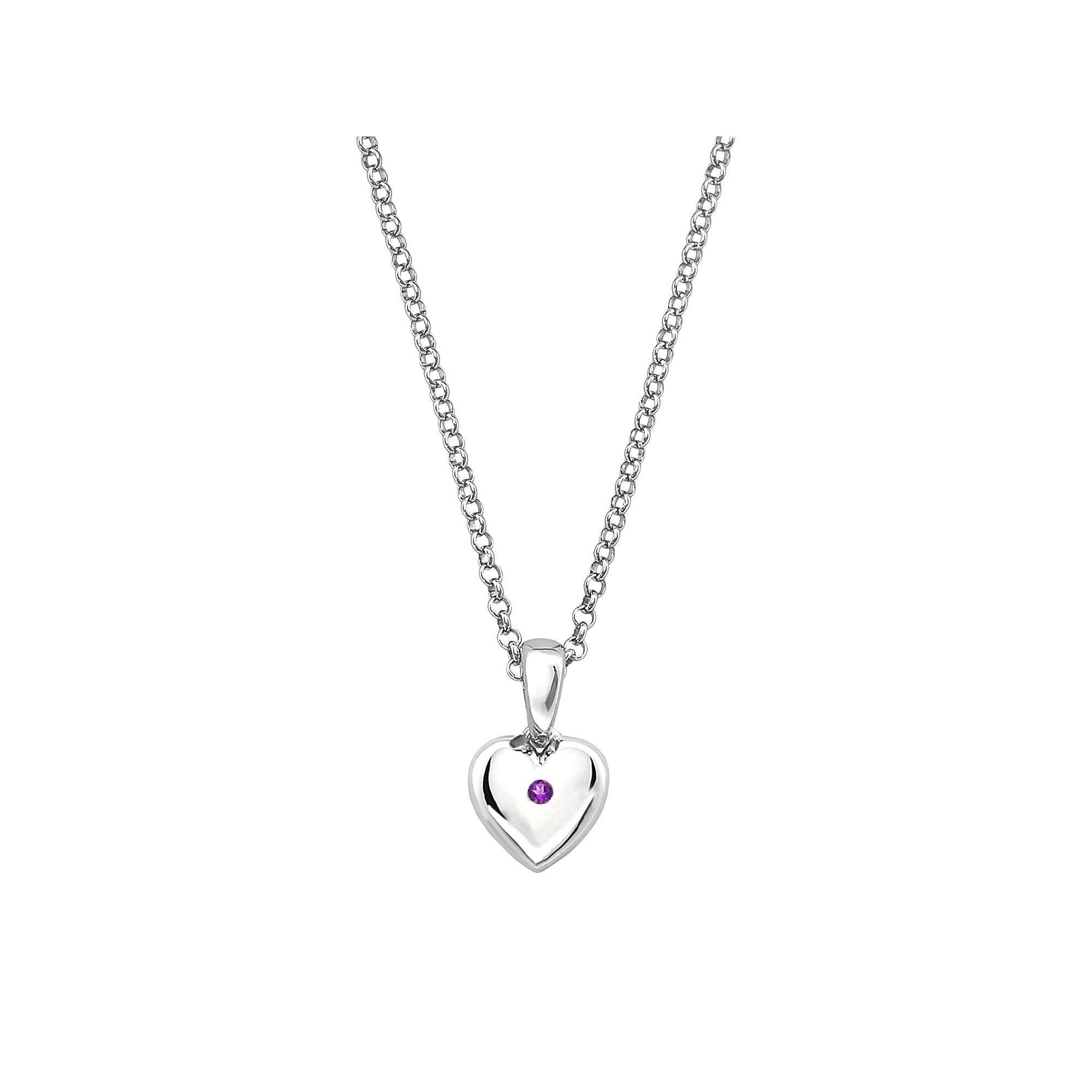 """Little Diva Diamonds Kids' Sterling Silver Amethyst Heart Pendant, Women's, Size: 16"""", Purple"""