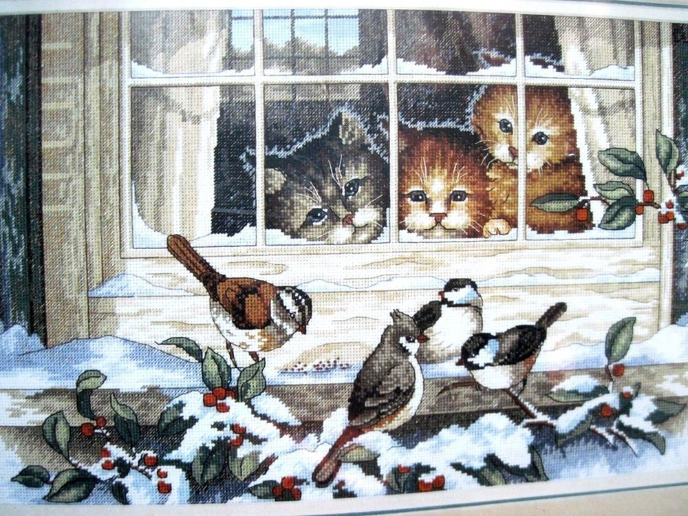 Kitten In The Window Dimensions Counted X Stitch
