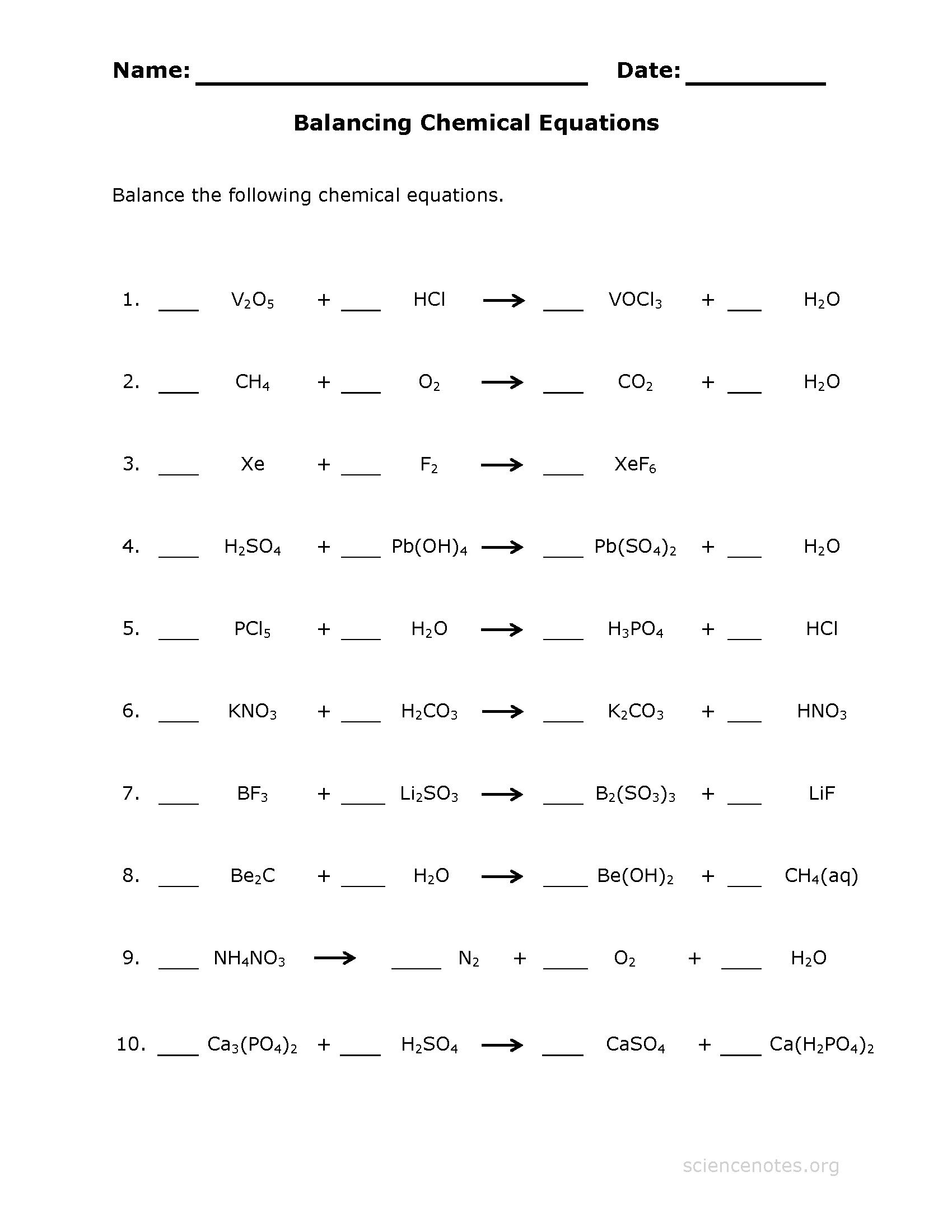 5 Verb Worksheets Kg Balance Chemical Equations Worksheet
