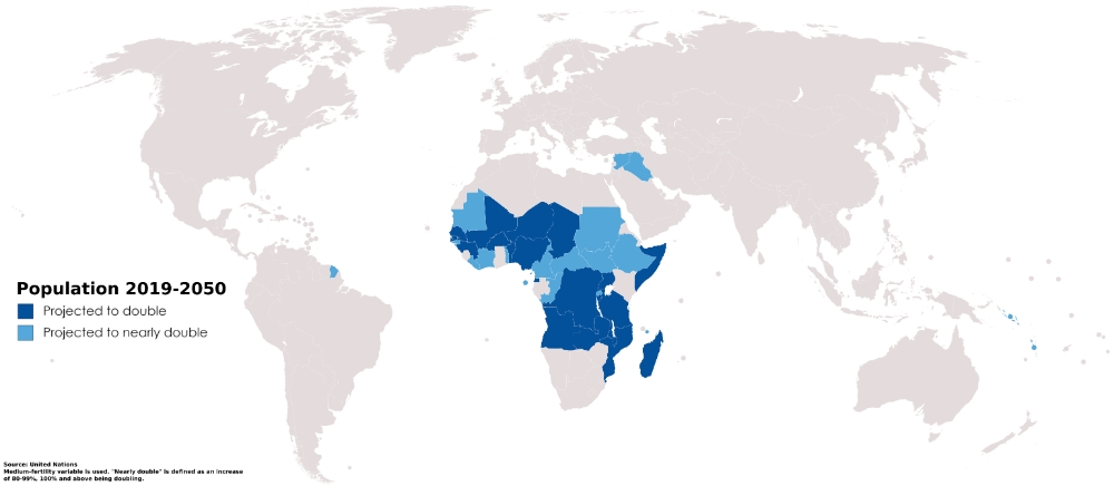 Which Countries Will Double Their Population By 2050 Country Map