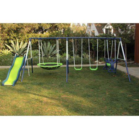 Toys | Metal swing sets, Swing, slide, Backyard playset
