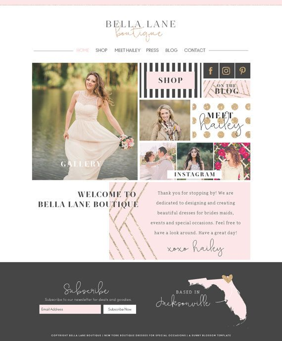 Sunny Blossom Template. Boutique shop website template, photography ...