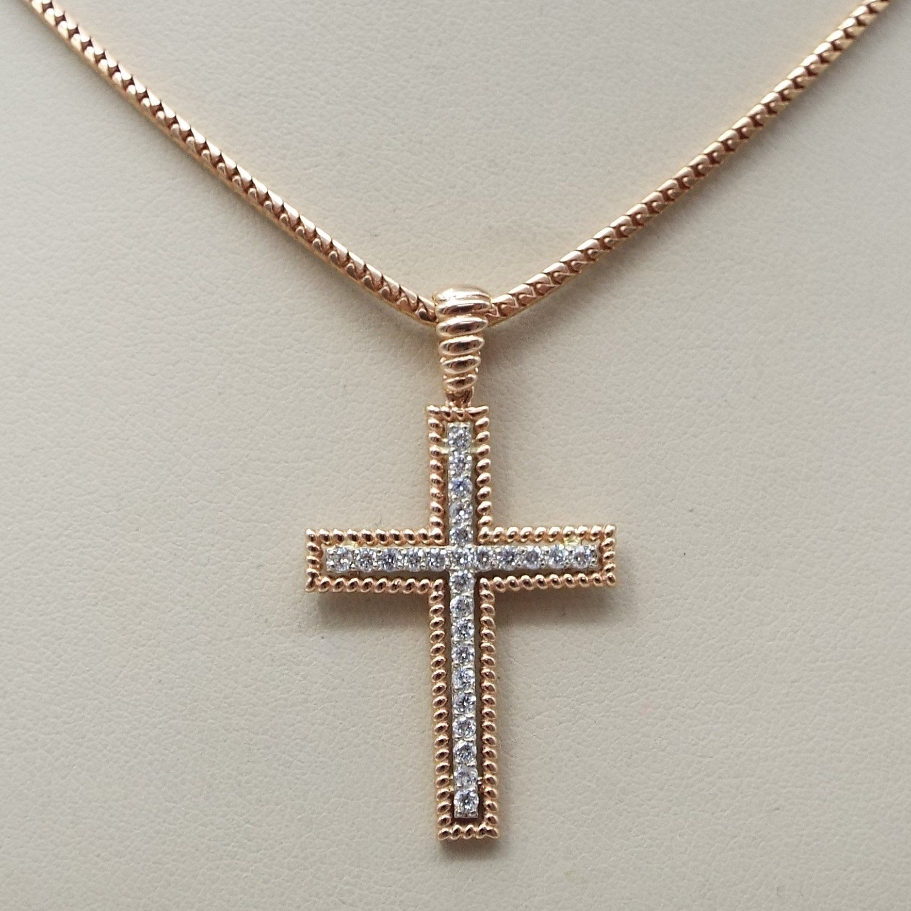 14k Rose Gold Cross Jesus Pendant With Diamonds And Chain Set 0 40 Ct Tdw By Dartamericana On Etsy Gold Cross Gold Pendant