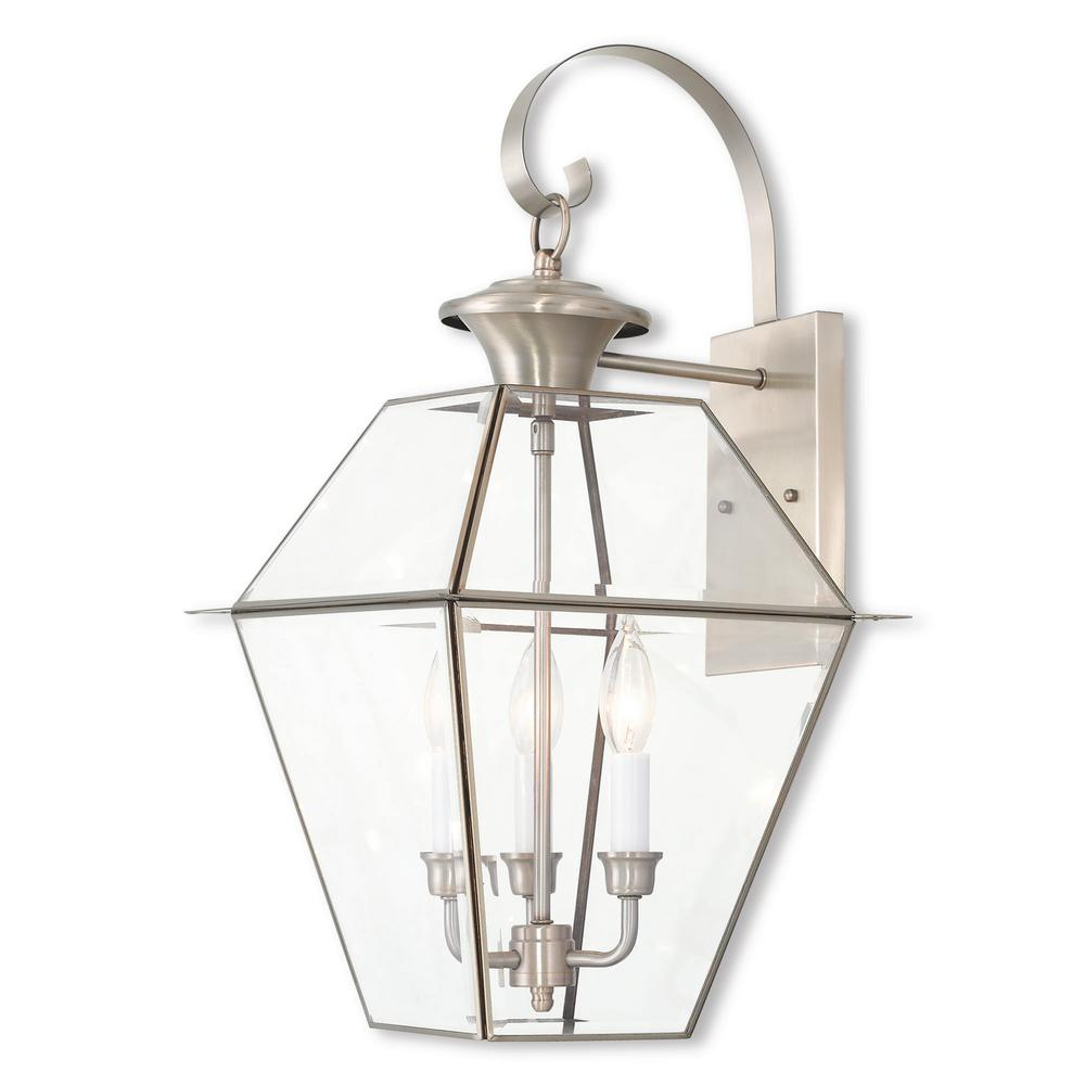Livex Lighting Westover 3 Light Brushed Nickel Outdoor Wall Lantern Sconce 2381 91 The Home Depot Wall Lantern Outdoor Wall Lantern Livex Lighting