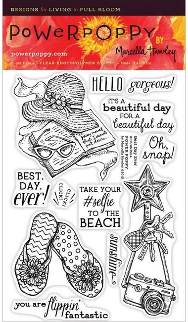 Power Poppy Best Day Ever - Clear Stamp. Whether it's a lazy, lingering day by the pool or a weekend getaway to a beachy cottage, or maybe just lunch with a dea