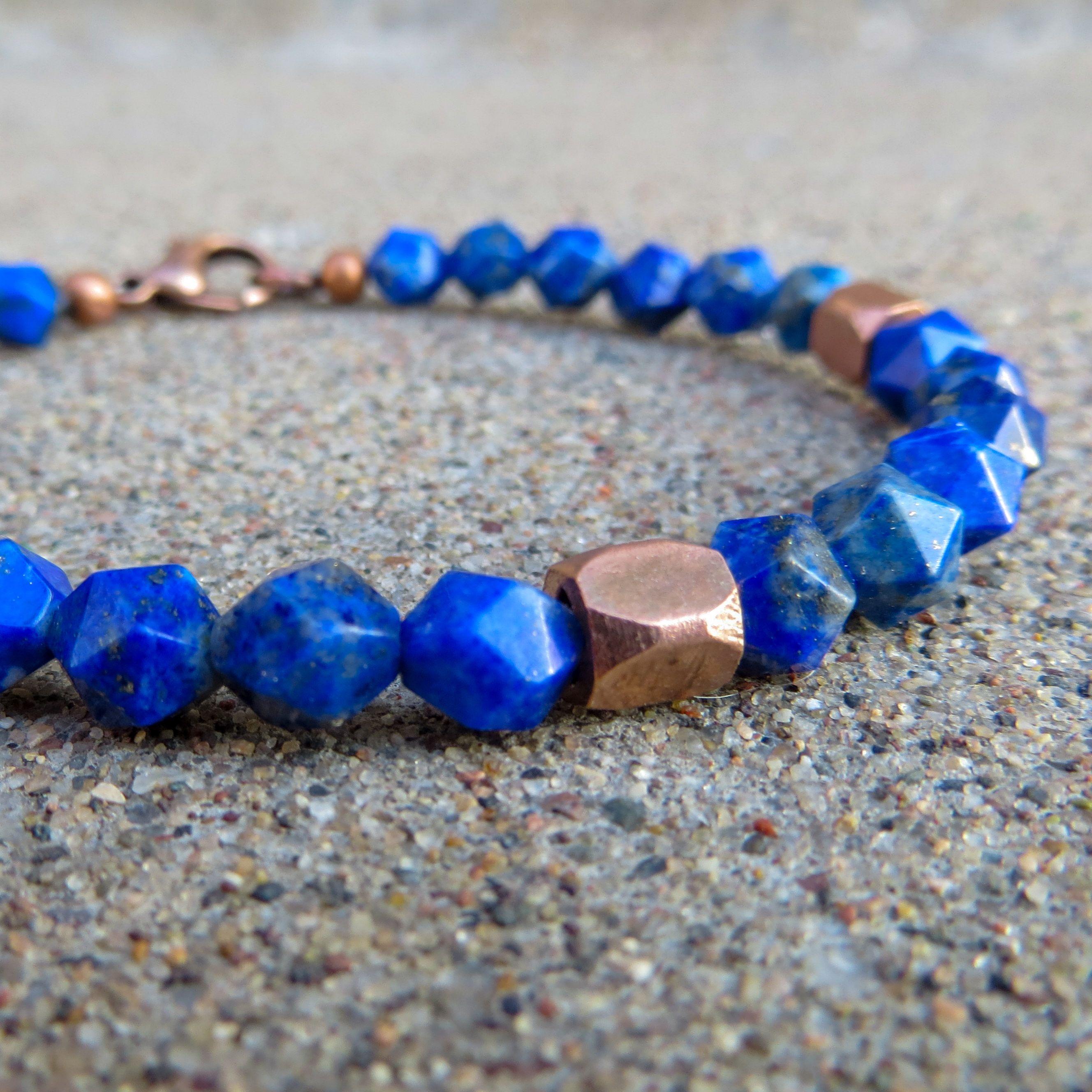 Jasper Denim Lapis Mens Bracelet Tiger Eye Brown Blue Purple Gemstone Beaded Mens Jewelry Amethyst