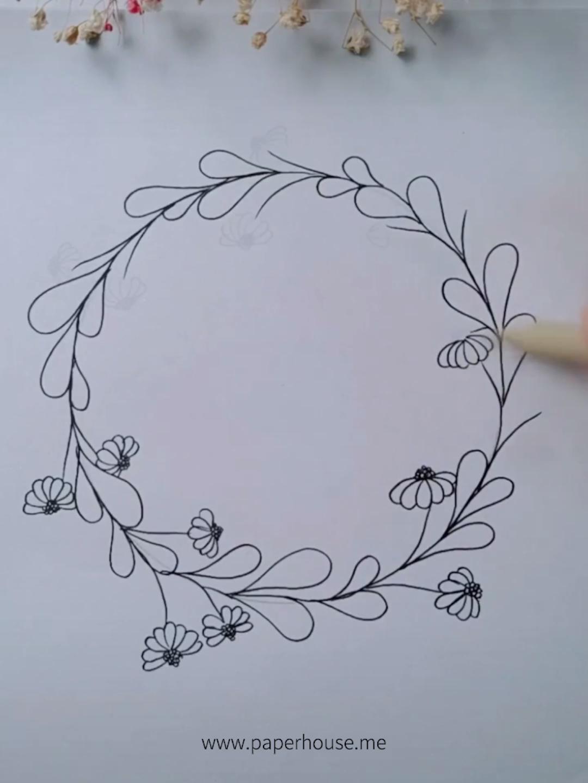 """Bujo Wreath Doodles👉www.paperhouse.me💝Get $ 3 mit dem Code """"PIN3"""" 💝Paperhouse Stationery #Bujo #code #doodles #DoodleswwwpaperhousemeGet"""