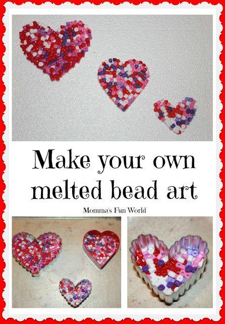 Momma's Fun World: Melted Valentine's bead art
