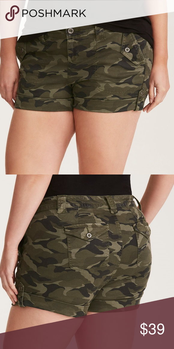 1dd1b0abed Torrid Camo Shorts Army Military Jeans Cargo Khaki Camo Print Military  Short Shorts By Torrid *NEW WITH TAGS, SIZE 16W 1X Available A pair of  shorts that'll ...