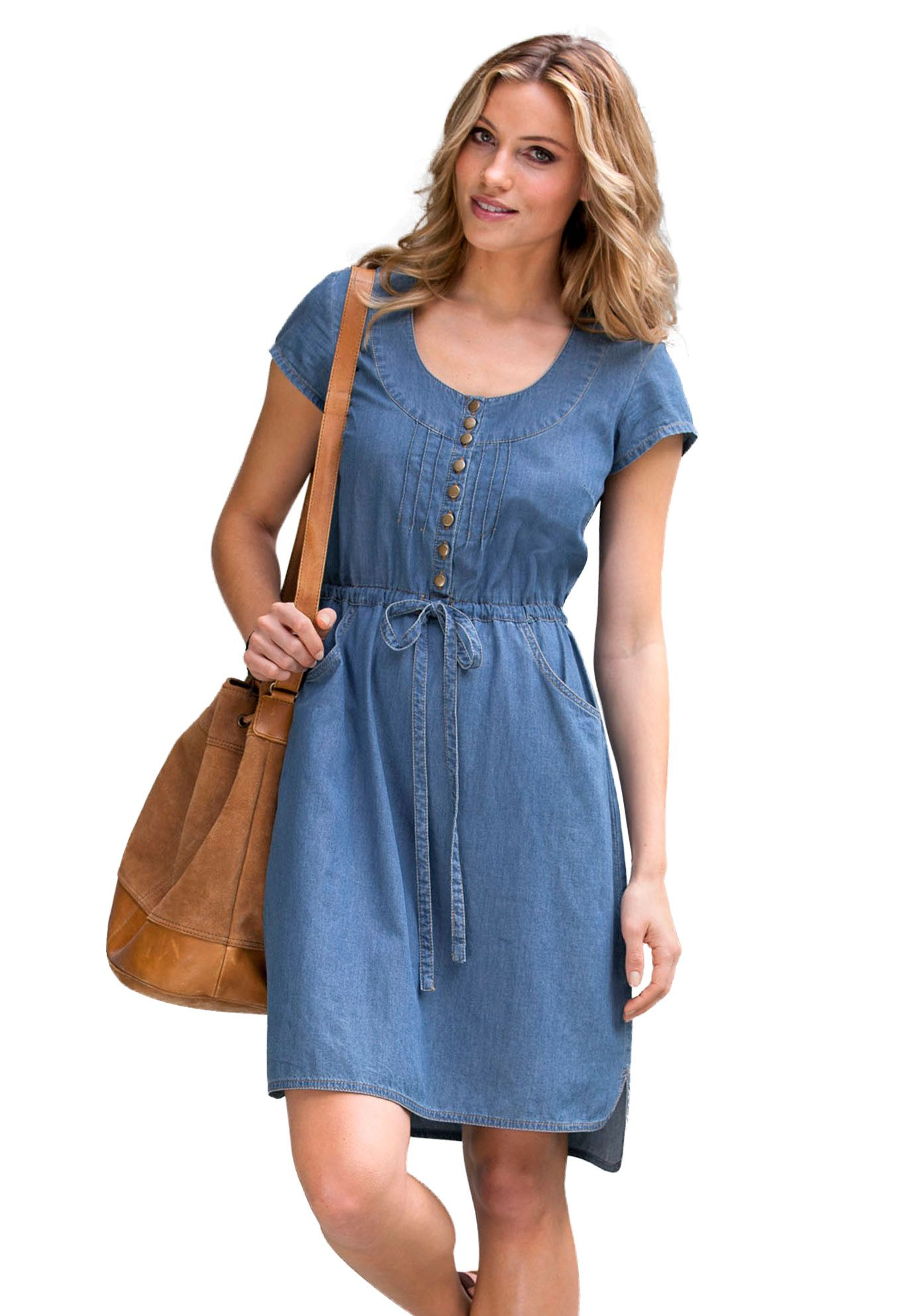 Dress, denim, empire waist, by Ellos® | Plus Size Denim Dress ...