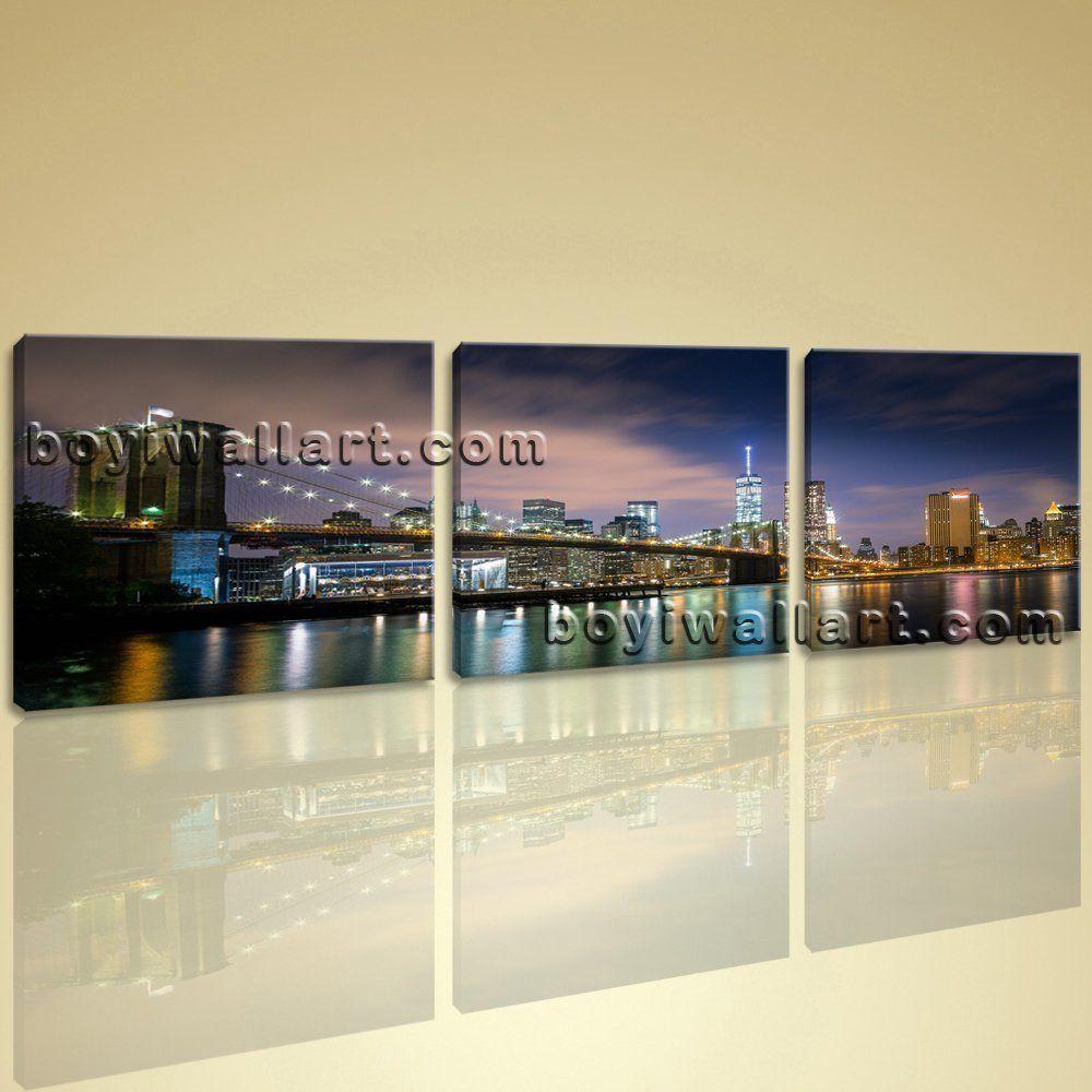 Big canvas print home office wall decor art city new york brooklyn