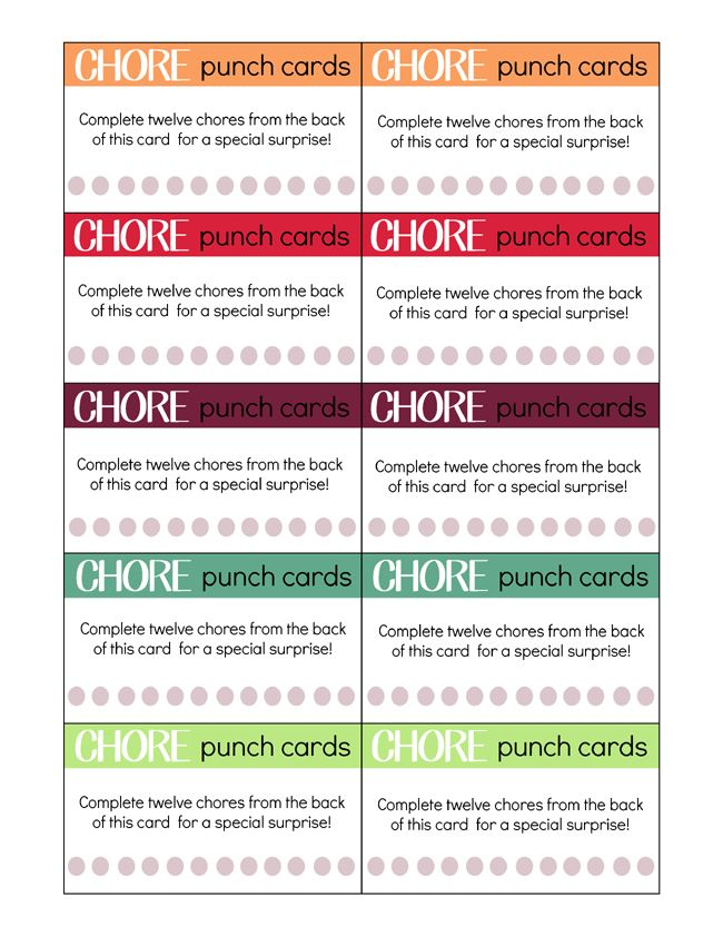 Printable Chore Punch Cards For Kids My Craftily Ever After Chore Chart Kids Printable Chore Cards Chores For Kids