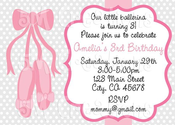 Ballet Invitation Party Printables Pink By 5mcreations 10 00