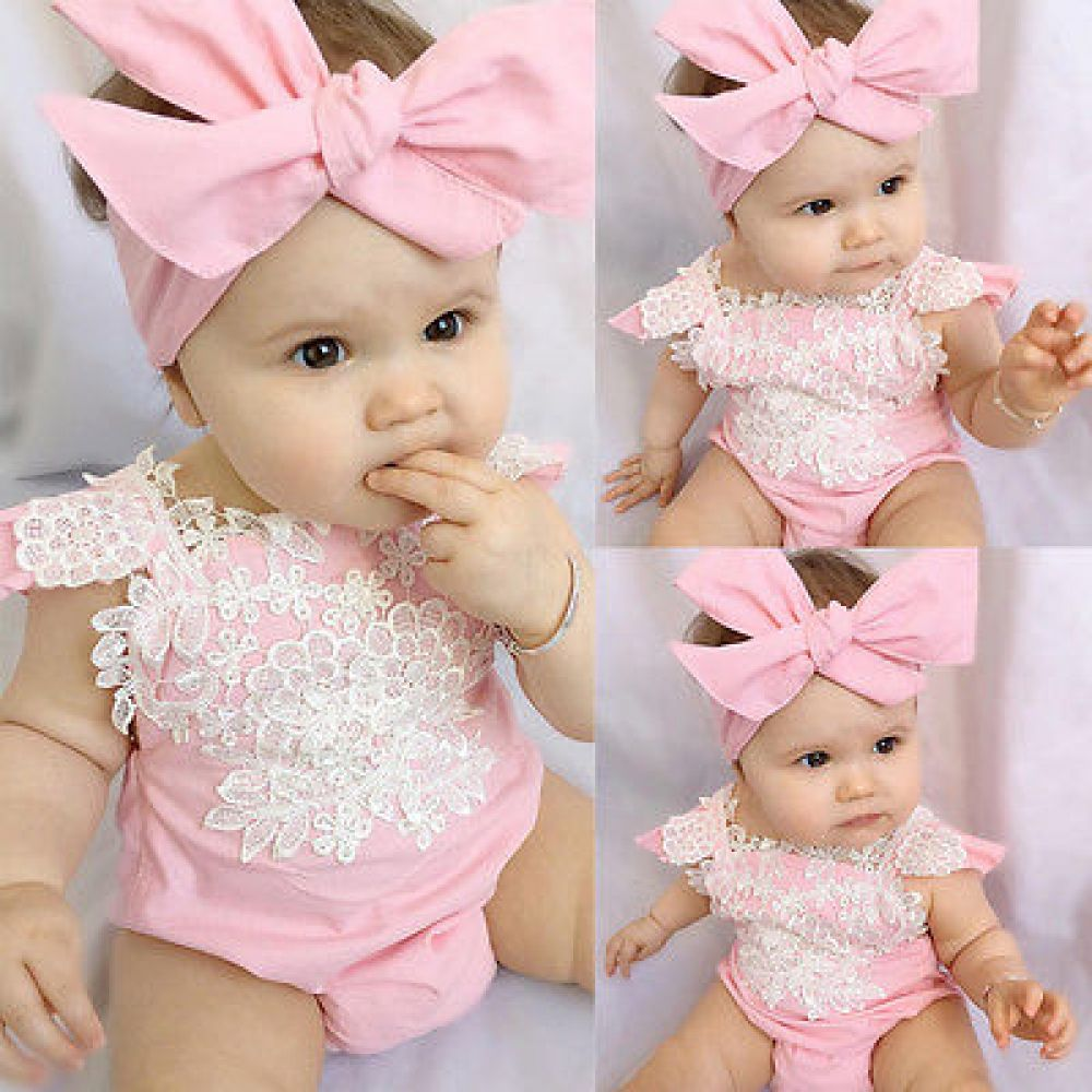 Sweet Cute Newborn Infant Girls Letter Romper Jumpsuit+Headband 2Pcs Outfits Set