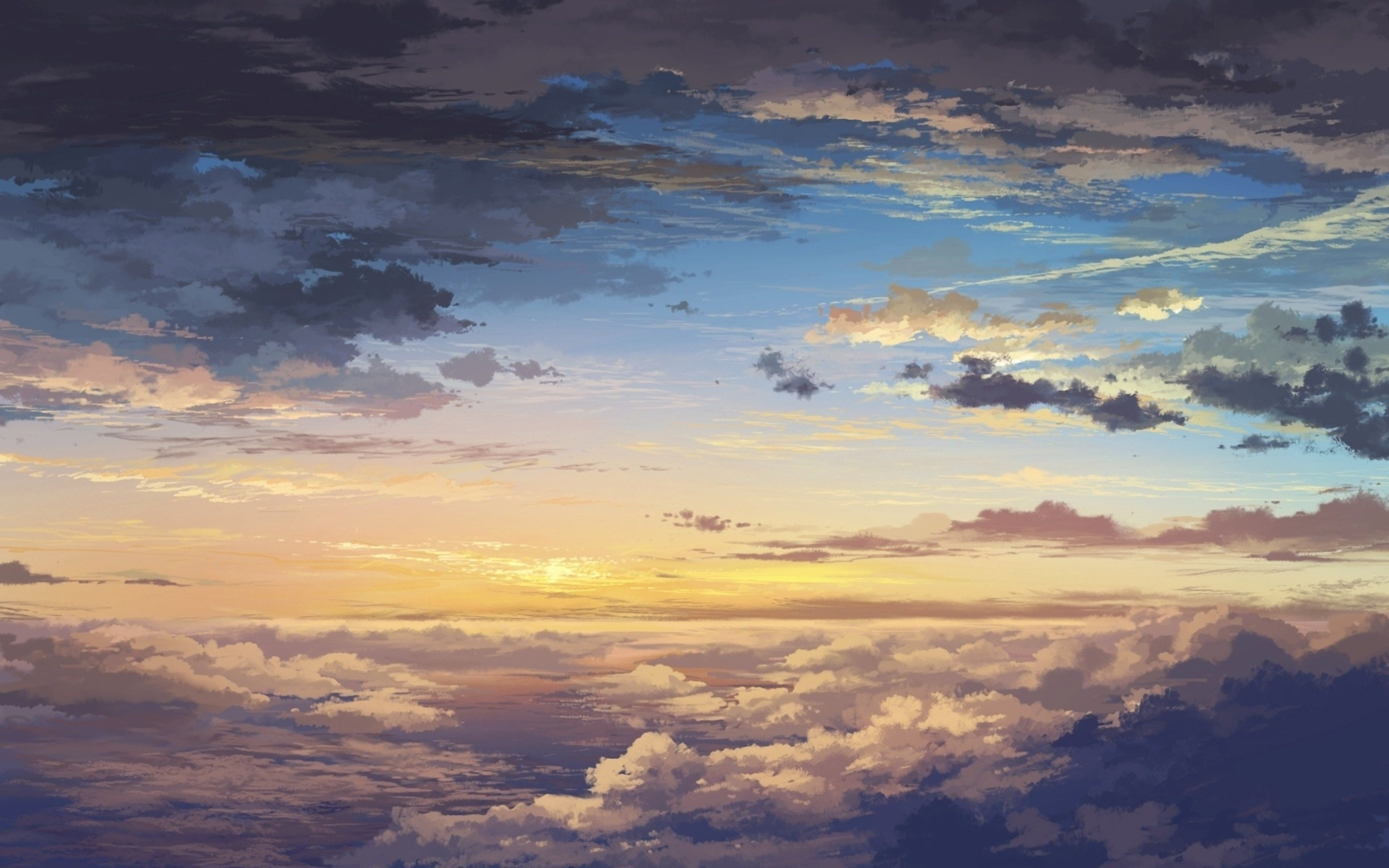 Download Wallpaper 3840x2400 Clouds, Sky, Art, Sunset