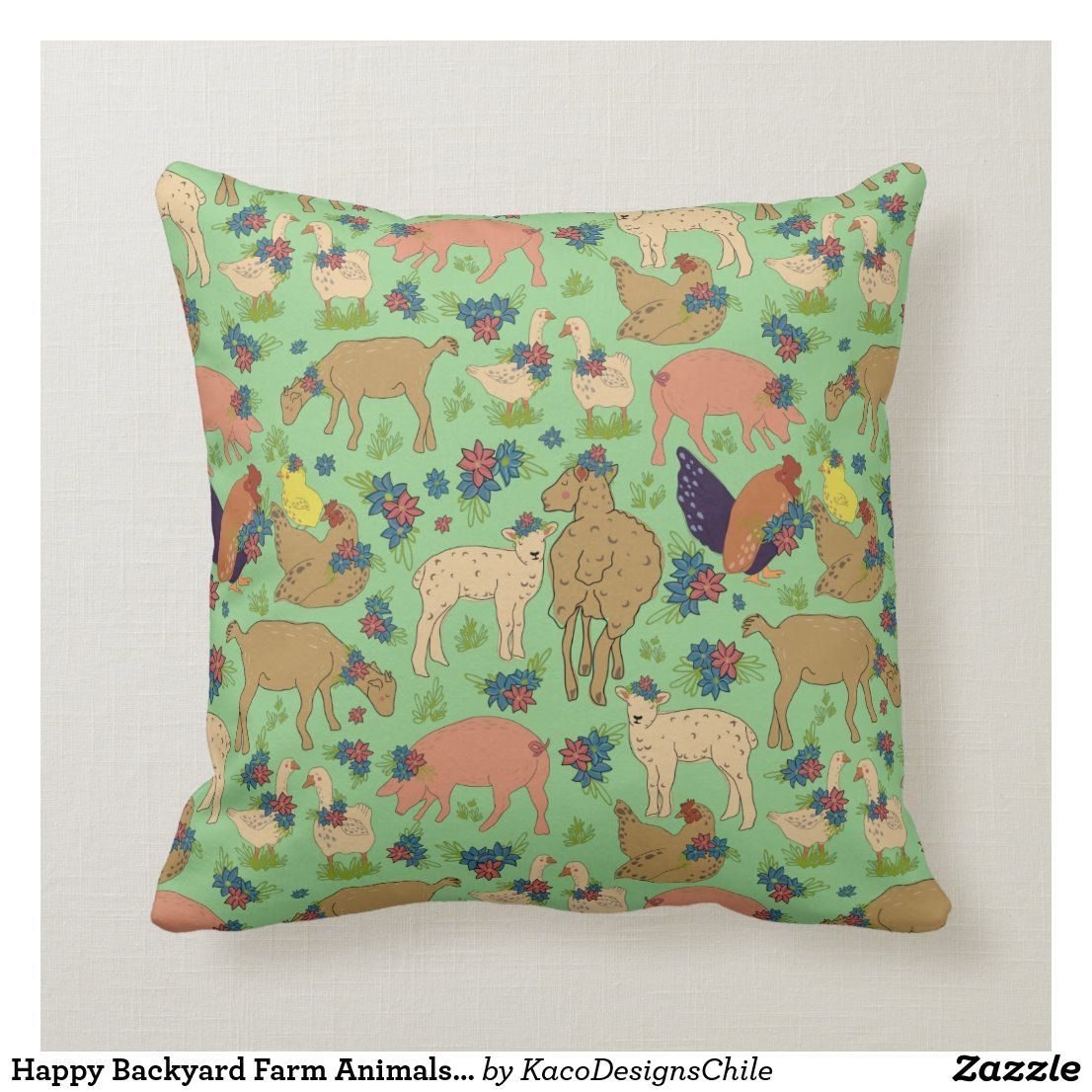 Happy Backyard Farm Animals Throw Pillow